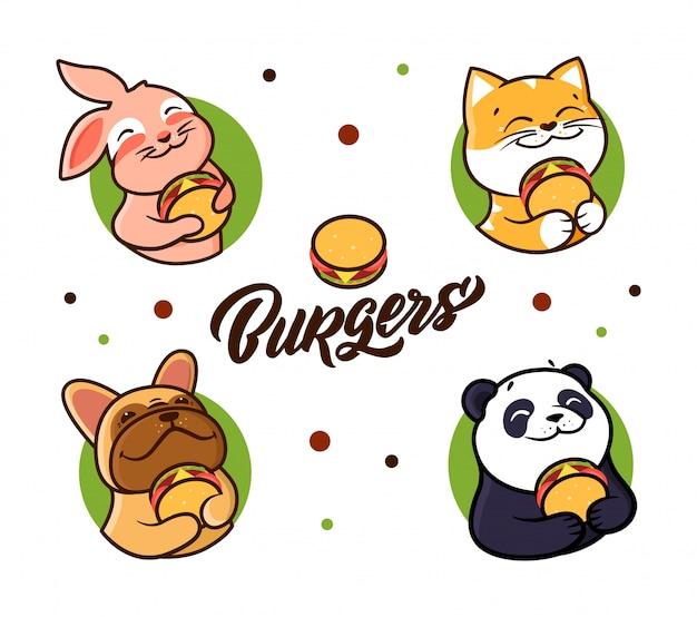 ハンバーガーを食べる動物のコレクション。組成