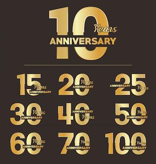 Коллекция юбилейного золотого логотипа празднования эмблемы