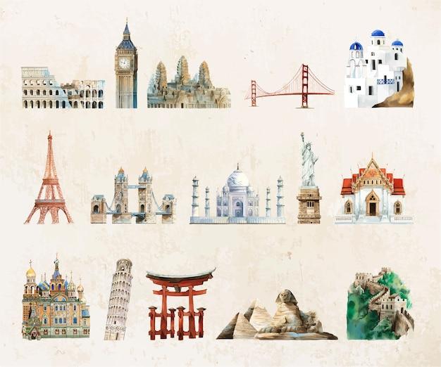 Коллекция архитектурных памятников, написанных акварелью