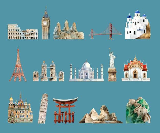 水彩で描いた建築上のランドマークのコレクション