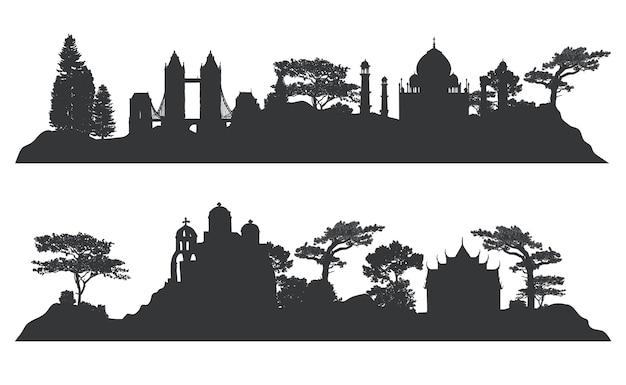 Коллекция векторных изображений архитектурных ориентиров