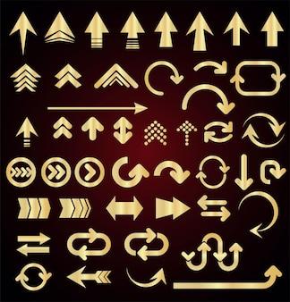 灰色の背景に分離された矢印の形のコレクション
