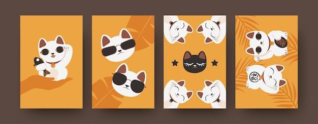 밝은 색상의 일본 고양이가 있는 예술 포스터 모음입니다. 마네키 네코 절연의 다채로운 세트입니다. 귀여운 기념품. 선글라스를 쓴 멋진 고양이들.