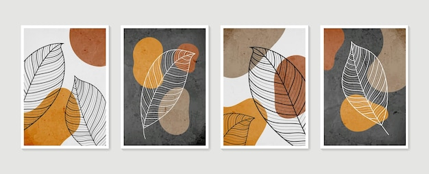 葉のイラストとアートポスターのコレクション