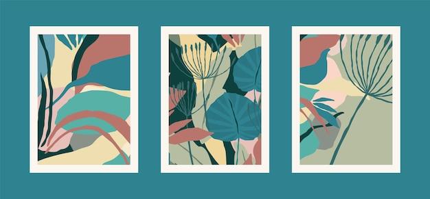 추상적 인 잎 예술 인쇄 컬렉션입니다. 현대적인 디자인. 비율 a4.