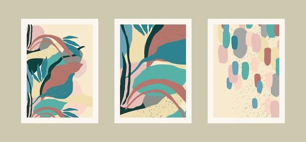 추상적 인 잎 예술 인쇄 컬렉션입니다. 비율 a4.