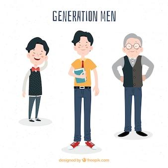 異なる年齢のアジア人男性のコレクション