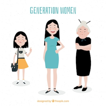 Collection of asian women in different ages