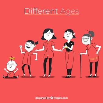 異なる年齢のアジア女性のコレクション