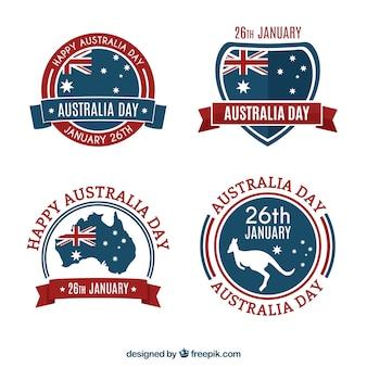 フラットデザインのオーストラリア日のバッジのコレクション