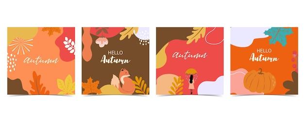 여우, 여자, 프레임으로 설정된 가을 배경 컬렉션