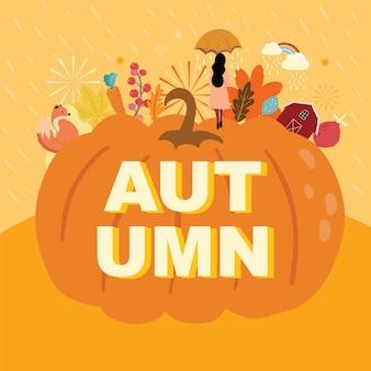 호박, 여자, 비로 설정된 가을 배경 컬렉션