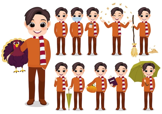 オレンジ色のセーターとスカーフ、白い背景のベクトル図に孤立した漫画と秋の男の子の漫画のキャラクターの野外活動のコレクション