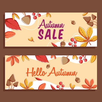 ウェブサイトのバナーやレタリングと紅葉の季節のデザインの秋のカードのコレクション