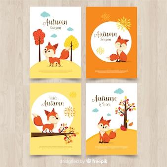 Коллекция осенних открыток плоского дизайна