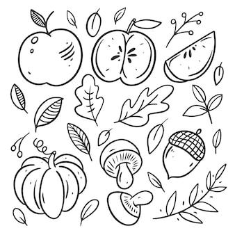 白で隔離の秋の要素のコレクション