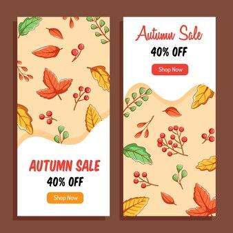 秋のセールや割引のコレクションとレタリングポスター付きの他のタイポグラフィチラシテンプレート