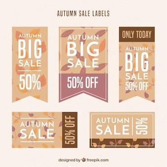 平らなデザインの秋の販売ステッカーのコレクション