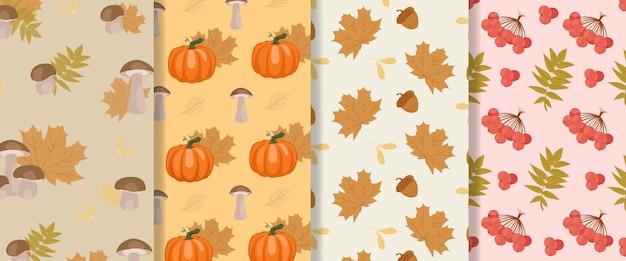 秋のシームレスパターンのコレクション