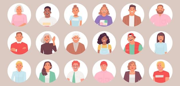 아바타 컬렉션 라운드 프레임에 있는 사람들의 초상화 세트 다른 연령대의 남성과 여성