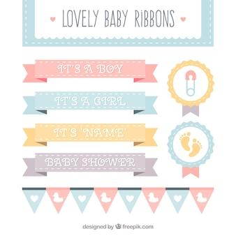パステルカラーで素晴らしい赤ちゃんのリボンのコレクション