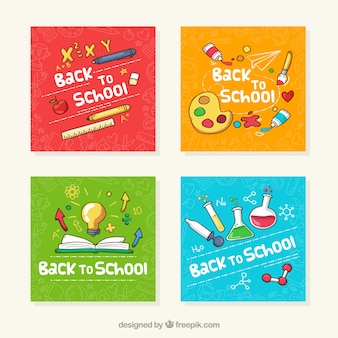 Collection of back to school cards in four colors