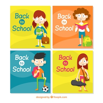 Collection of back to school cards with kids