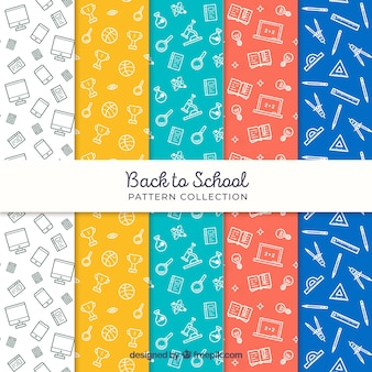 Collection of back to school patterns in different colors