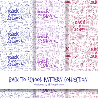 Collection of back to school patterns in hand drawn style