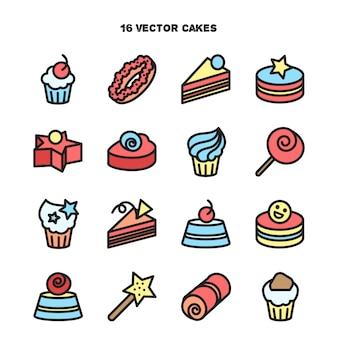 빵집 및 케이크 아이콘의 컬렉션입니다. 사탕, 달콤한 세트.