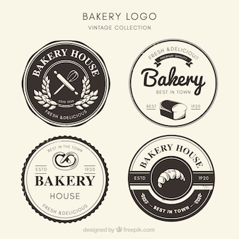 Collection of bakery logos in vintage style
