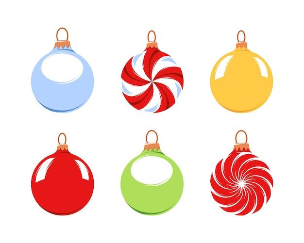 흰색 배경에 고립 된 크리스마스 트리 공의 컬렉션