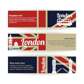 Collection of banners and ribbons with London landmark buildings isolated vector illustration