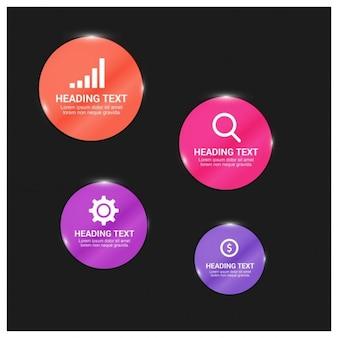 Глянцевая кнопка инфографики элемент дизайна со значком