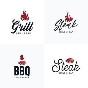 Коллекция логотипов для барбекю и стейк-хауса