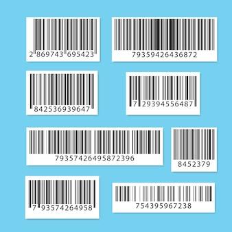 青で分離されたバーコードのコレクション