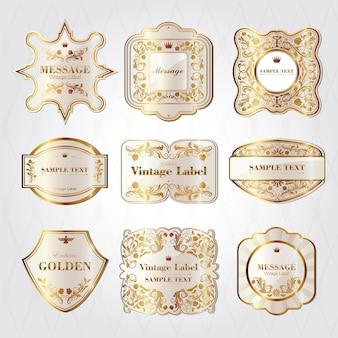 バロック様式のパールホワイトラベルデザインセットのコレクション