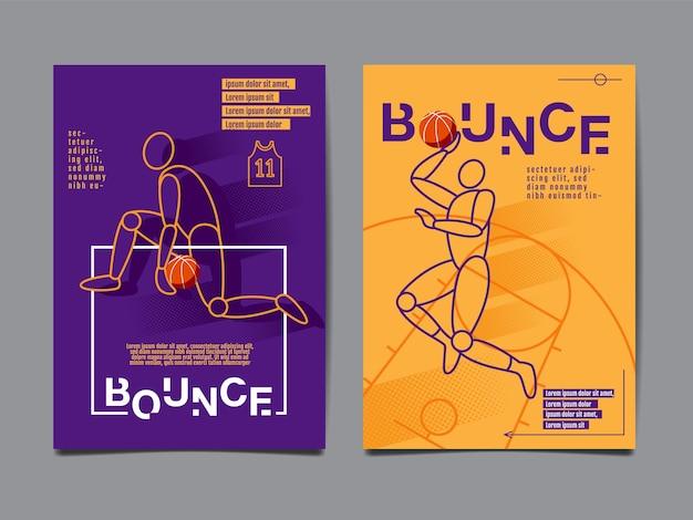 Коллекция баскетбола, дизайн макета, спортивный баннер Premium векторы
