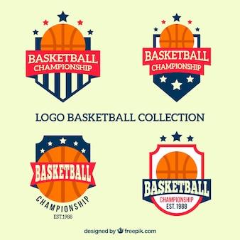 Коллекция баскетбольных логотипов в плоском дизайне
