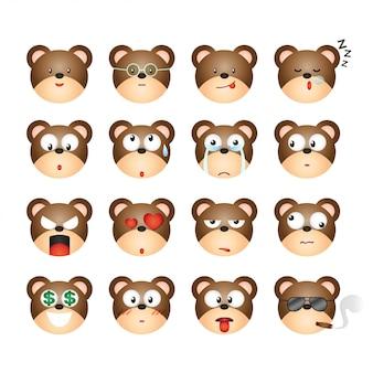 Коллекция смайлика эмоции выражения лица медведя.