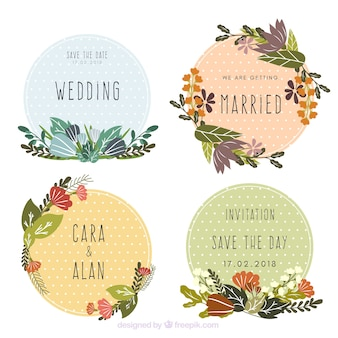 Collection of beautiful floral wedding labels