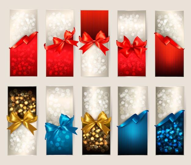 Коллекция красивых подарочных карт с цветными подарочными бантами с лентами иллюстрации