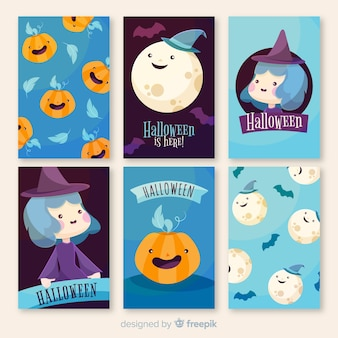 Collection of beautiful halloween greeting cards
