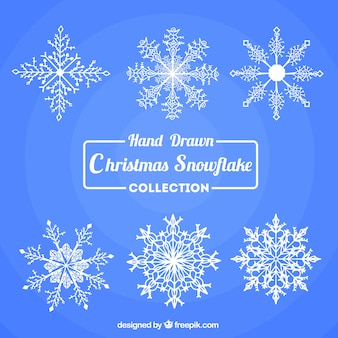 Collection of beautiful hand-drawn snowflakes