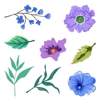 아름 다운 허브와 야생 꽃과 잎 절연의 컬렉션입니다. 프리미엄 벡터