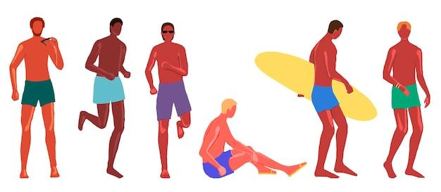 Коллекция красивых мужчин в плавках. мальчики в разных позах, национальностях, цветах кожи на пляже. ручной обращается векторные иллюстрации в мультяшном плоском стиле.