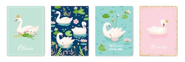 디자인 인쇄, 아기 인사말, 도착 카드, 초대장, 어린이 매장 전단, 브로셔, 벡터 표지를 위한 아름다운 백조 포스터 컬렉션 프리미엄 벡터