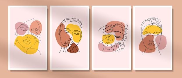美女の顔のコレクション最小限の手描きの線画自由奔放に生きるミッドセンチュリー