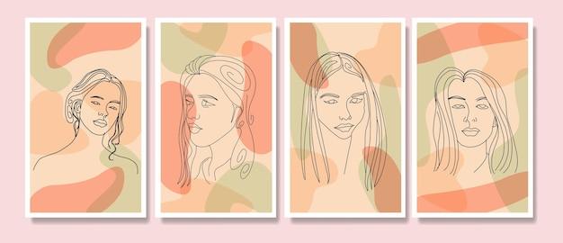 아름다움 여자 얼굴의 컬렉션은 최소한의 손으로 그린 라인 아트 boho 중반 세기