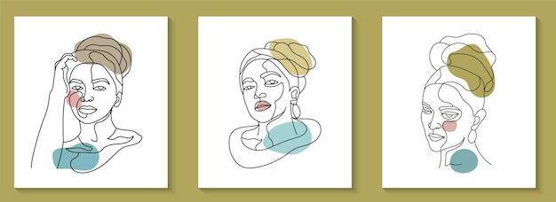 Коллекция красоты женское лицо минимальная рисованная линия